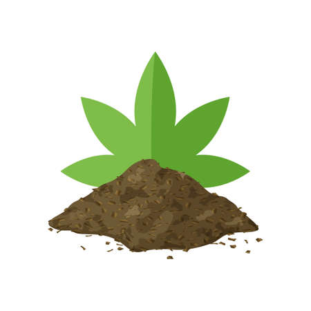 Heap of marijuana grinder. Color clipart of brown hemp powder with green leaf. Cartoon simple illustration. Pile of ground dry flour of plant. Flat isolated vector icon on white background