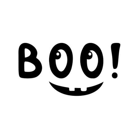 Boo lettering. Halloween print, poster, sticker. Text with with eyes, smile and teeth. Black simple drawing. Doodle hand drawn illustration. Outline isolated vector silhouette, white background