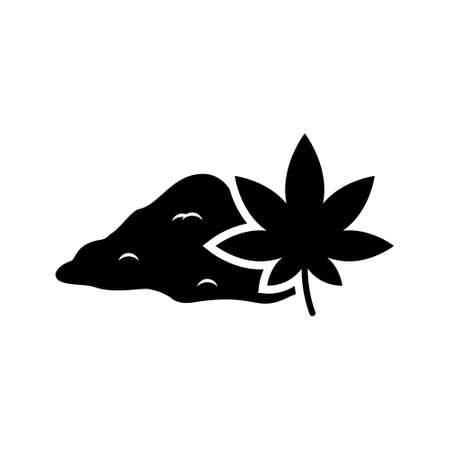 Hemp powder with leaf. Pile of Marijuana grinder. Silhouette icon. Black simple illustration of ground dry flour of plant. Flat isolated vector pictogram on white background