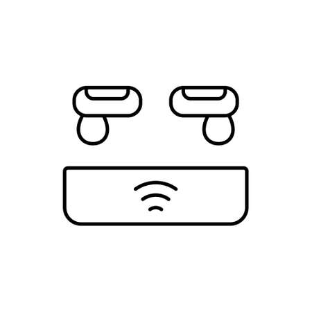 Earbuds with charging box. Linear icon of modern audio accessory. Black simple illustration. Contour isolated vector pictogram on white background