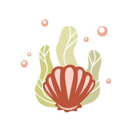 Coral shell with green seaweed and air bubbles. Color hand drawn illustration for card, stamp, sticker, print. Cartoon clipart. Outline vector silhouette drawing, white background