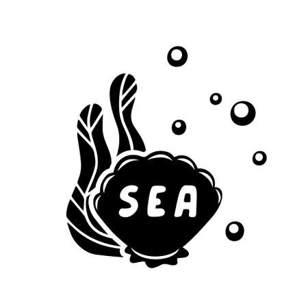 Seashell with water plant, air bubbles and text sea inside. Black hand drawn illustration for packaging design. Graphic poster, stamp, print. Outline vector silhouette drawing, white background