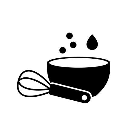 Cutout silhouette icon of bowl and whisk. Mix or whip food ingredients. Black simple illustration of cooking of batter, dough. Outline isolated vector pictogram on white background 向量圖像