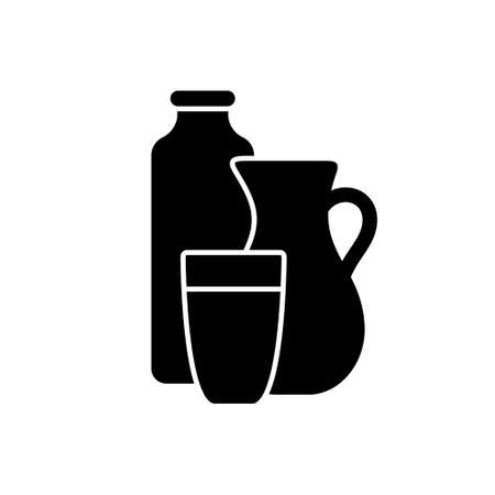 Silhouette Bottle, jug and glass with drink. Outline icon of milk, cream, kefir, yogurt or ryazhenka. Black simple illustration of farm dairy products. Flat isolated vector pictogram, white background