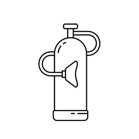 Medical oxygen cylinder tank with mask. Linear icon of gas bottle, balloon. Black illustration. Medic equipment for treatment, relief of breathing. Contour isolated vector pictogram, white background