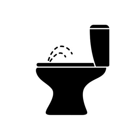 Silhouette combined toilet bidet with water jet. Outline icon of ceramic sanitary ware for bathroom. Black simple illustration. Flat isolated vector pictogram on white background Иллюстрация
