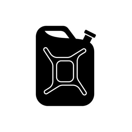 Silhouette Fuel canister. Outline icon of tin can with handle for gasoline, water. Black simple illustration of army metal container, jerrican. Flat isolated vector pictogram on white background Иллюстрация