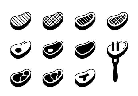 Steak silhouette icons set. Outline beef with bone, fat, grill strips, fork. Different views of raw meat for packaging design. Black illustration. Flat isolated vector pictogram, white background
