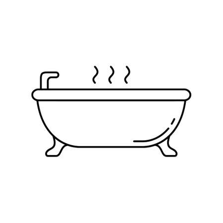 Bathtub on legs. Linear icon of take hot bath. Black simple illustration of relaxation in bathroom, ceramic sanitary ware. Contour isolated vector pictogram on white background