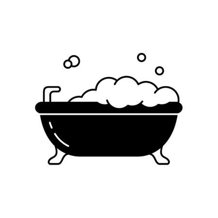 Bubble bath silhouette icon. Outline bathtub on legs with lather. Black simple illustration of bathroom, hygiene, cleanliness of body. Flat isolated vector pictogram on white background