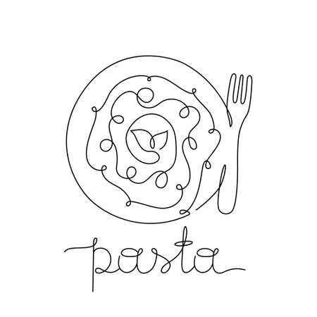 Pasta poster for menu. Stylized plate, fork and freehand lettering. Drawing of italian food with tomato sauce, basil. One continuous line. Black hand drawn vector illustration. Thin linear isolated Иллюстрация