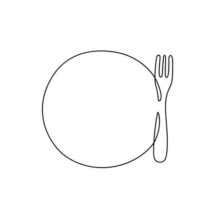 Round plate with fork. One continuous line drawing. Black hand drawn vector illustration with copy space. Thin linear icon, isolated on white background. Template for minimalist emblem. Contour dish