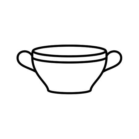 Soup bowl or tureen. Linear icon of deep plate with two handles. Black simple illustration of dish for liquid food, porridge, broth. Contour isolated vector pictogram on white background
