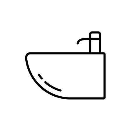 Bidet. Linear icon of oval basin used for washing. Black simple illustration. Contour isolated vector pictogram on white background