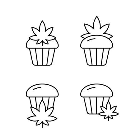 Marijuana or cannabis cake, icons set. Linear logo of hemp cupcake. Black simple illustration for bakery products, packaging design. Contour isolated vector pictogram on white background