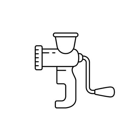 Meat grinder or household chopper. Linear icon of manual mincer. Black simple illustration of hand sausage stuffer. Contour isolated vector pictogram on white background