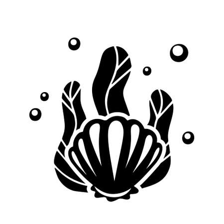 Shell with seaweed and air bubbles. Black hand drawn illustration for stamp, sticker, print. Cartoon clipart. Outline vector silhouette drawing, white background Иллюстрация