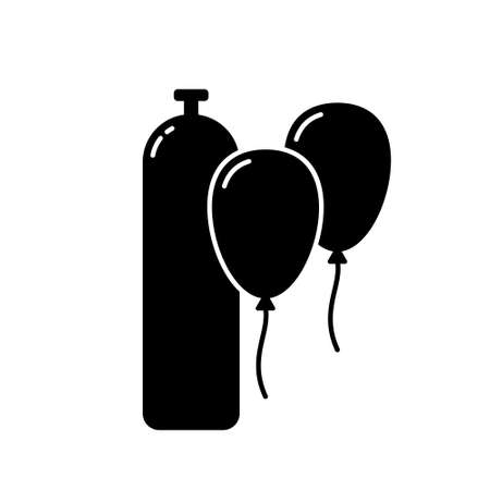 Silhouette Helium gas tank. Outline icon of cylinder for balloon party. Black simple illustration of gassing equipment. Flat isolated vector pictogram on white background
