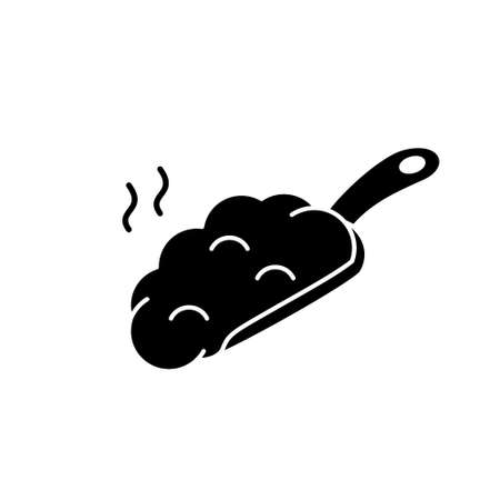 Silhouette Manure scoop with smell. Outline icon of organic fertilizer for plant. Black simple illustration for agriculture, farming. Flat isolated vector pictogram on white background
