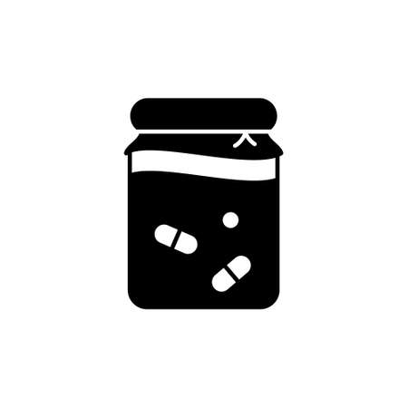 Silhouette Fermented food. Outline icon of home thermostatic dairy products. Black illustration of glass jar with probiotics or lactic acid bacteria. Flat isolated vector pictogram, white background