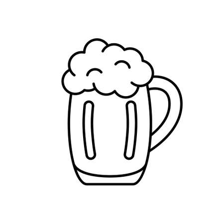 Mug of beer with foam. Linear icon of pint of ale. Black simple illustration of bar, alcohol drink. Contour isolated vector pictogram on white background Иллюстрация