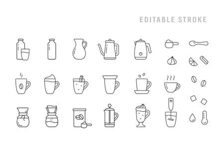 Coffee or tea icons set. Pictograms for preparation of hot homemade drink. Milk, cream, cup, teapot, kettle, glass, french press, whipper. Black linear editable stroke emblem. Contour isolated vector