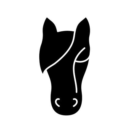 Horse Silhouette. Outline icon of animal head. Black simple illustration of cattle, farming. Stylized symbol for stable. Flat isolated vector pictogram on white background