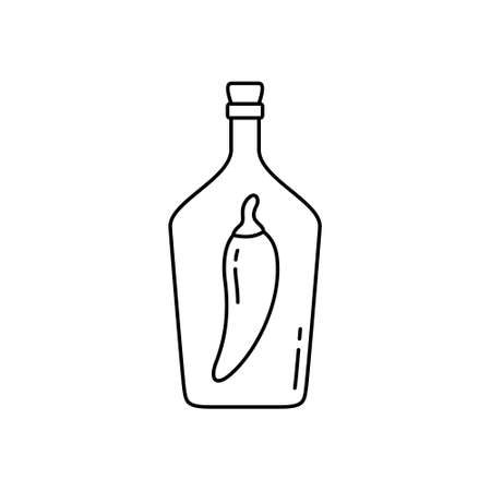 Ukrainian vodka icon. Linear bottle of horilka, moonshine. Black simple illustration of drink infused with chili pepper. Contour isolated vector pictogram on white background Иллюстрация