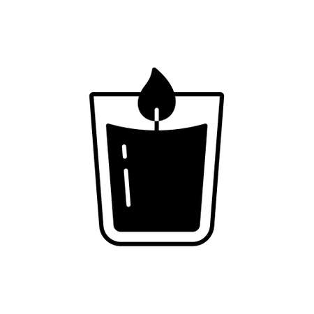 Candle in glass, Silhouette logo. Outline icon of aromatic accessory for cozy home, spa salon. Black simple illustration of aromatherapy, homeliness. Flat isolated vector pictogram on white background Иллюстрация