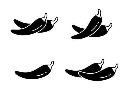 Chili pepper or Cayenne, silhouette icons set. Outline pictogram for packaging design. Black simple illustration of hot spice and piquancy. Flat isolated vector emblem on white background