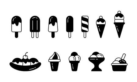 Ice cream. Silhouette icons set. Eskimo, waffle cone, ice lolly, banana split, twister, bowl. Black simple illustration, different types. Outline isolated vector pictogram, white background