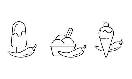Chilli ice cream. Linear icons set of spicy dessert. Black simple illustration of chili pepper with waffle cone and cup of scoops. Contour isolated vector pictogram, white background