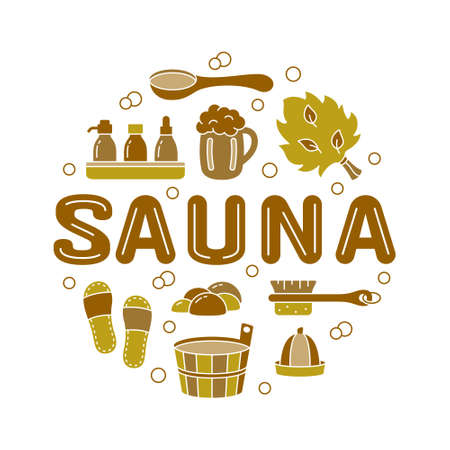 Sauna, color round emblem for label, print, poster with text. Brown outline illustration of wooden tub, ladle, hat, broom, beer mug, brush, soap, slippers. Cutout silhouette vector, white background