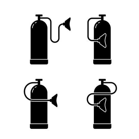 Silhouette oxygen cylinder with mask, outline icons set. Medical equipment for treatment of hypoxia. Black illustration of gas bottle or balloon. Flat isolated vector pictogram, white background