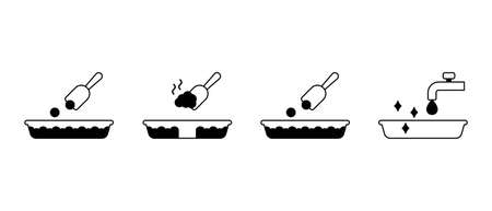 Instruction for Cat litter. Silhouette icons set of toilet box or tray, scoop, water tap. Scheme of filling, removing, washing. Black illustration. Outline isolated vector pictogram, white background