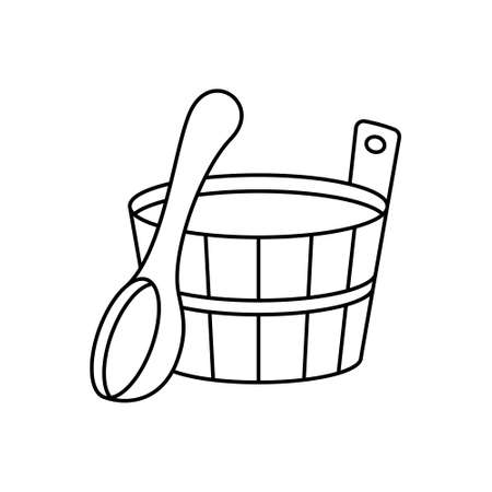 Wooden tub and bath ladle. Sauna emblem. Linear icon of classic accessory for Russian banya. Black simple illustration of spoon, bucket with handle. Contour isolated vector pictogram, white background Иллюстрация