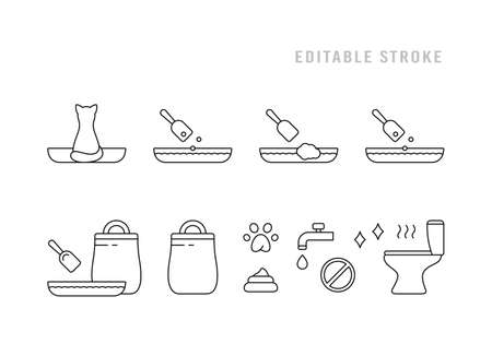 Cat litter set for packaging design. Line art icons, basic instruction. Toilet, tray, scoop, pet, poop, stench, paw, bag. Black simple illustration. Contour isolated vector pictogram. Editable stroke