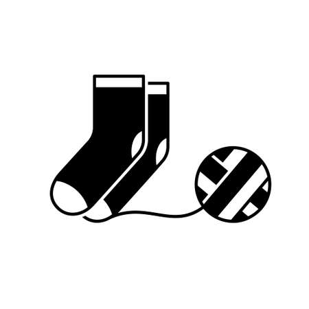Knitted socks with ball of thread. Silhouette icon of knitwork. Black simple illustration of handmade, knitting. Outline isolated vector pictogram, white background Иллюстрация