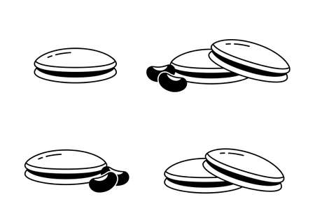 Dorayaki. Linear icons set of Japanese pancakes with bean filling. Kind of wagashi with anko. Black simple illustration. Contour isolated vector pictogram on white background Иллюстрация