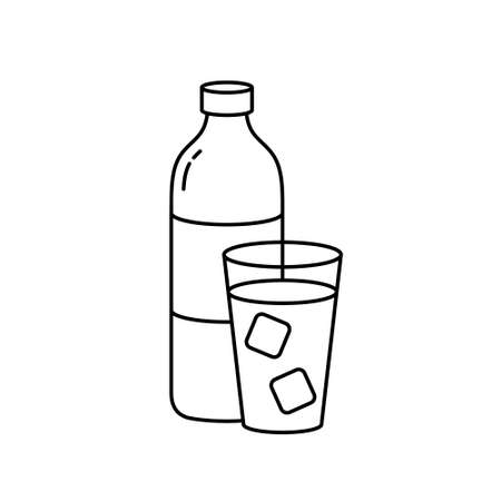 Bottle and glass with ice cubes. Linear icon of cold drink, water. Black simple illustration. Contour isolated vector pictogram on white background