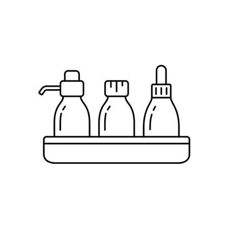 Set of cosmetic bottles on tray stand. Linear icon of dropper, dispenser and spa vial. Black simple illustration of body skin care in hotel. Contour isolated vector pictogram on white background