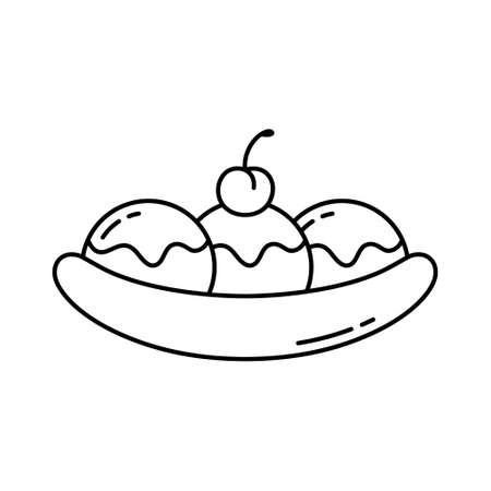 Banana split. Linear icon of fruit dessert with ice cream, topping and cherry. Black simple illustration of traditional american food. Contour isolated vector pictogram on white background