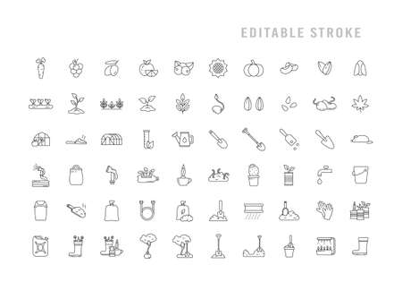 Gardening icons set. Pictograms for growing plant, flower, vegetable, fruit. Garden tools for working with seeds, soil, ground. Black linear editable stroke emblem. Contour isolated vector