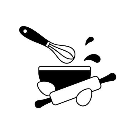 Making cake dough. Black cooking outline emblem. Bowl, kitchen whisk, rolling pin, chicken eggs, splash, drops. Silhouette simple icon for packaging design. Isolated vector pictogram, white background Иллюстрация