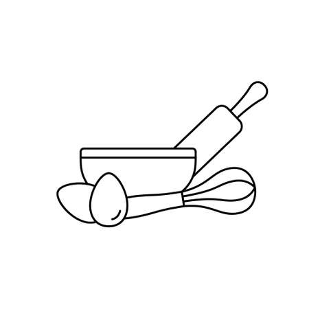 Kitchen utensils for making bakery products, pie, cake or pastries. Linear emblem. Bowl, rolling pin, whisk, chicken eggs. Basic icon of cooking dough. Black contour isolated vector pictogram