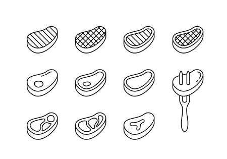 Steak linear icons set. Beef with bone, fat, grill strips, fork. Different views of raw meat piece for packaging design. Black simple illustration. Contour isolated vector pictogram, white background
