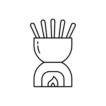 Fondue bowl. Linear icon of ceramic pot with forks. Black simple illustration of special heated cookware for cooking cheese or chocolate sauce. Contour isolated vector pictogram on white background Иллюстрация