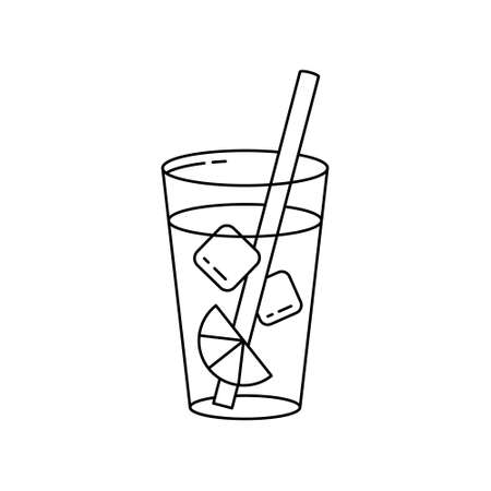Glass of lemonade with ice cubes, lemon slice and straw. Linear icon of summer drink. Black simple illustration. Contour isolated vector pictogram on white background Иллюстрация