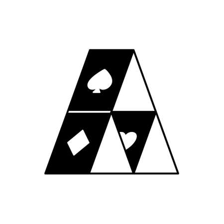 Playing cards house. Outline silhouette icon of pyramid with spade, heart, diamond. Black simple illustration. Flat isolated vector pictogram on white background Иллюстрация