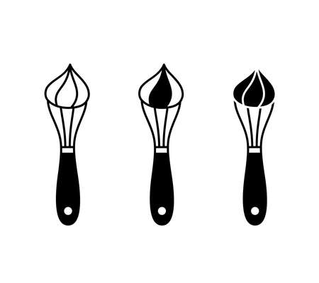 Whisk with whipped cream. Silhouette icons set. Black simple illustration of manual whipping, cream preparation, cooking dessert. Outline isolated vector pictogram on white background